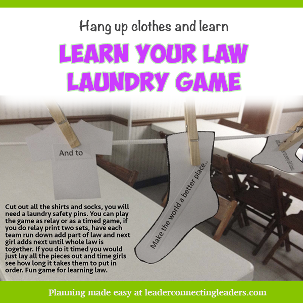 Girl Scout Law Laundry Game