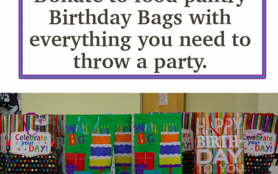 Considerate and Caring Petal Idea: food pantry Birthday bags with everything you need to throw a party